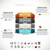 stock photo of step-ladder  - 3D futuristic business infographic made of blocks and ladder - JPG