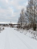 picture of snowy-road  - country snowy road in winter rural area - JPG
