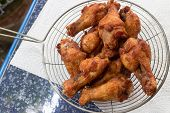 stock photo of southern fried chicken  - Homemade fried chicken drumsticks cooking with original thai style - JPG