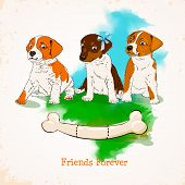 pic of friendship day  - Friendship day greeting card in cartoon style - JPG