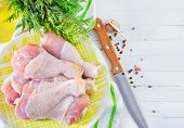 image of charcuterie  - chicken legs with salt and spice in the bowl - JPG