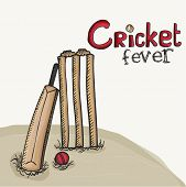foto of cricket ball  - Stylish bat with red ball and wicket stumps for Cricket Fever - JPG
