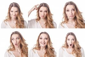 foto of emoticon  - Collage of woman different facial expressions emotions and emoticons - JPG