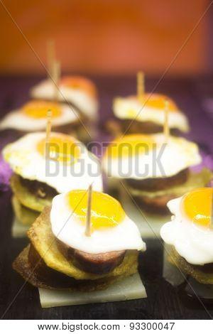 Spanish Cusine Egg Tapas Dishes In Restaurant