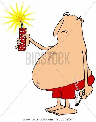 Man holding a lit firecracker