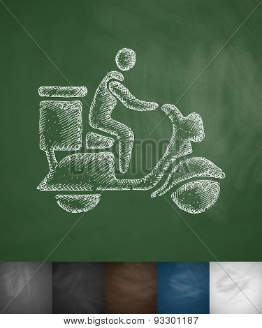delivery man on scooter icon