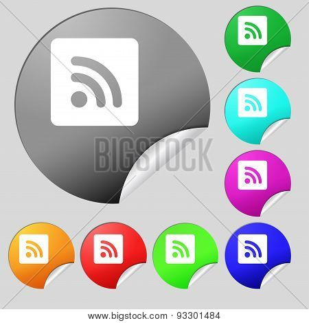 Rss Feed  Icon Sign. Set Of Eight Multi Colored Round Buttons, Stickers. Vector