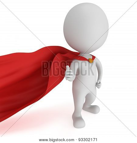 3D Man - Brave Superhero With Red Cloak