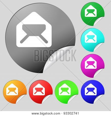 Mail, Envelope, Letter Icon Sign. Set Of Eight Multi Colored Round Buttons, Stickers. Vector