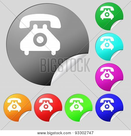 Retro Telephone Handset  Icon Sign. Set Of Eight Multi Colored Round Buttons, Stickers. Vector