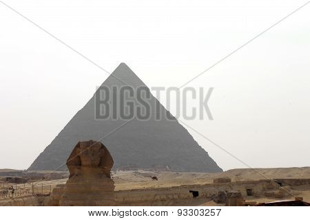 Pyramids In Desert Of Egypt And Sphinx In Giza