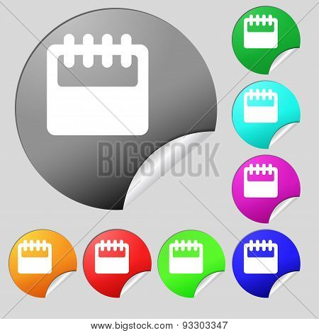 Notepad, Calendar Icon Sign. Set Of Eight Multi Colored Round Buttons, Stickers. Vector