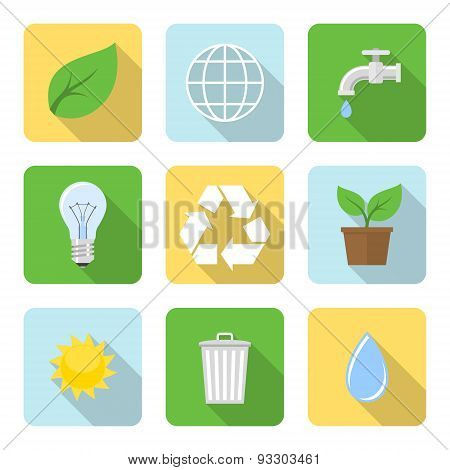 Flat Environment Icons With Long Shadows. Vector Illustration