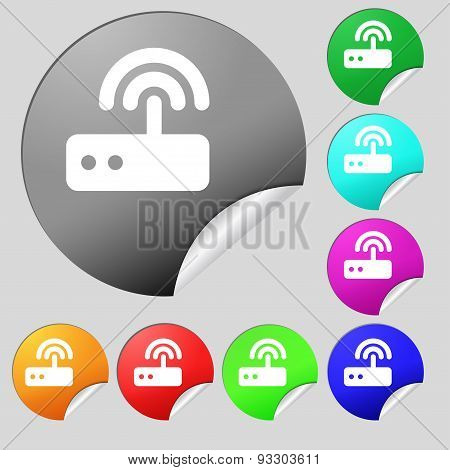 Wi Fi Router Icon Sign. Set Of Eight Multi Colored Round Buttons, Stickers. Vector