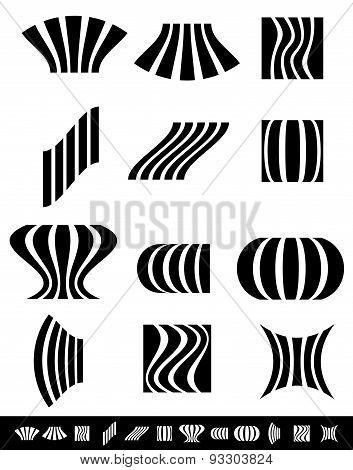 Deformed Vertical Bars With Deformation Effects. Set Of 12 Different Distortions.