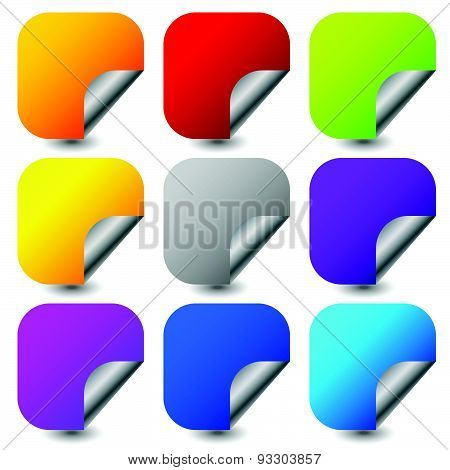 Peeling Square Stickers With Metallic Back Side. Set Of 9 Colors. Blank Stickers.