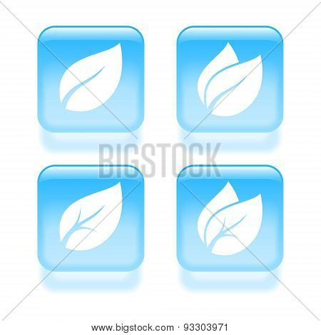 Glassy Leaves Icons. Vector Illustration