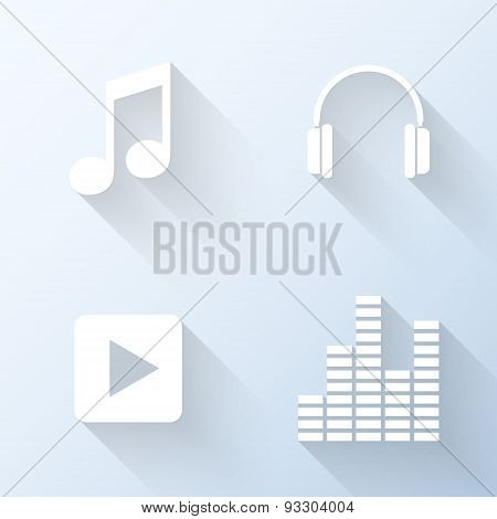 Flat Music Icons With Long Shadows. Vector Illustration