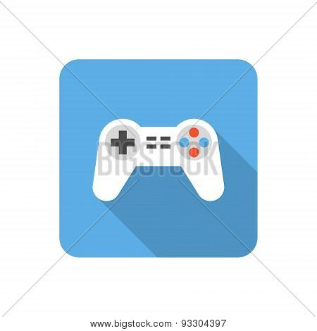 Flat Gamepad Icon With Long Shadow. Vector Illustration