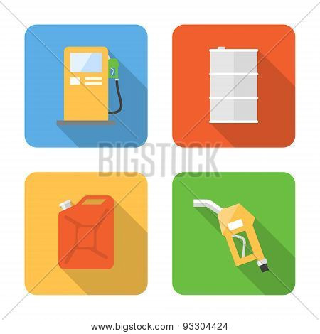 Flat Fuel Icons With Long Shadows. Vector Illustration