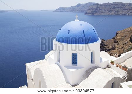 Church Cupolas On Santorini