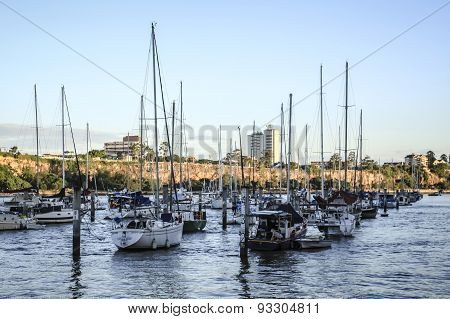 Sail boats moor in Brisbane River