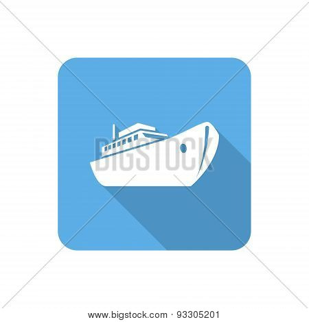 Flat Ship Icon With Long Shadow. Vector Illustration