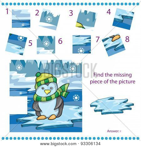 Find missing piece game for Children with penguin on ice background