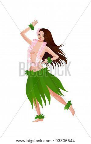 Ethnic Dance Of Hawaiian Girl