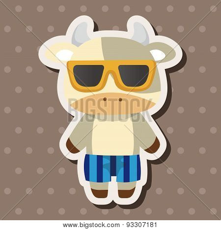 Animal Cow Summer Cartoon Theme Elements