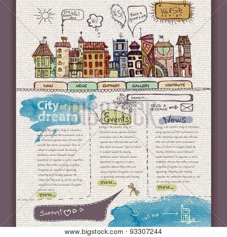 Website Design Template. City