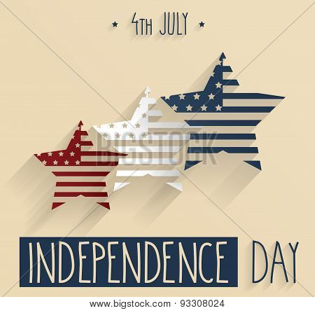 Independence Day hand drawn poster. 4th Of July. Red, white and blue stars
