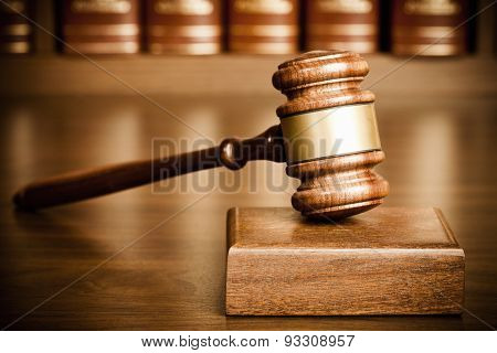 gavel and sounding block on desk