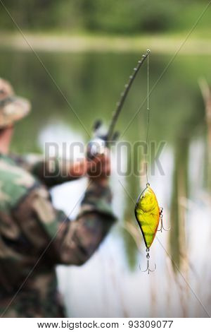 Bright Fishing Bait Before Casting