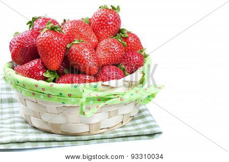 Basket Of Strawberry On White Background