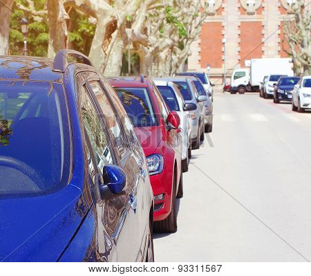 Parking Cars In The City, Many Automobiles In A Row