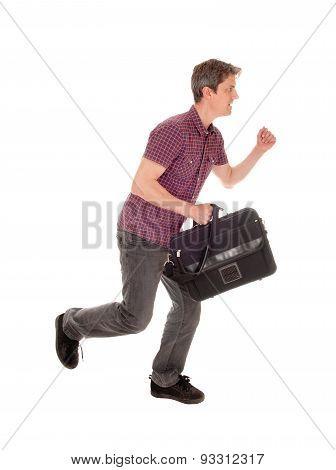 Man Running With Briefcase.