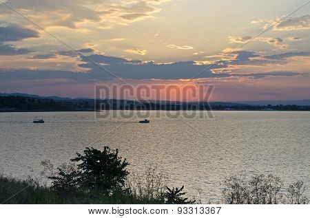 Fisher Boat On The Black Sea During Sunrise