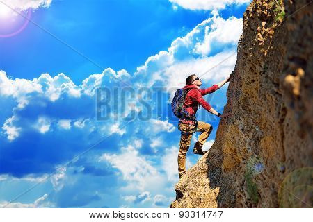 Climber With Backpack