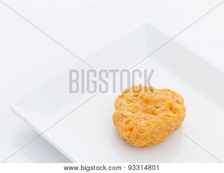 Fried Chicken Nuggets On White Dish