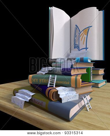 studying school books. back to school concept background with stairs