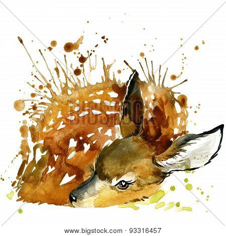deer T-shirt graphics, deer illustration with splash watercolor textured background.