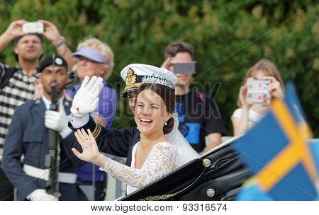 The Swedish Prince Carl-philip Bernadotte And His Wife Waving And Laughing