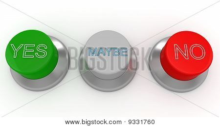 3D Man With Green, Red And Gray Buttons