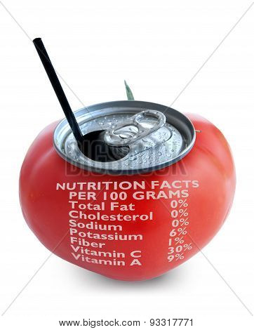 Tomato Juice Nutrition Label