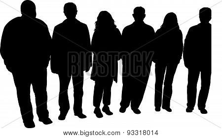 silhouettes of people, standing in line