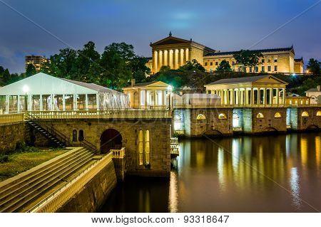 The Fairmount Water Works And Art Museum At Night, In Philadelphia, Pennsylvania.