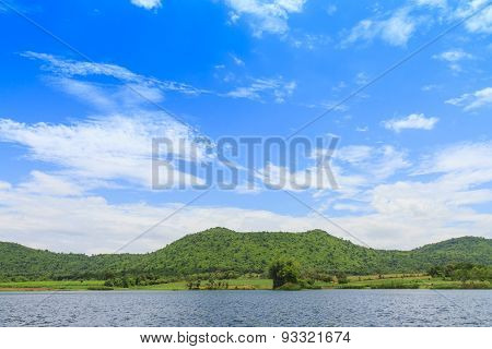 The Blue Sky And Mountain Lanscape Style.