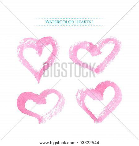 Pink Watercolor Hearts