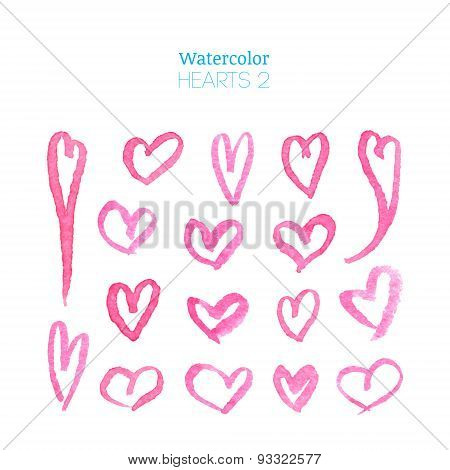 Pink Watercolor Hearts
